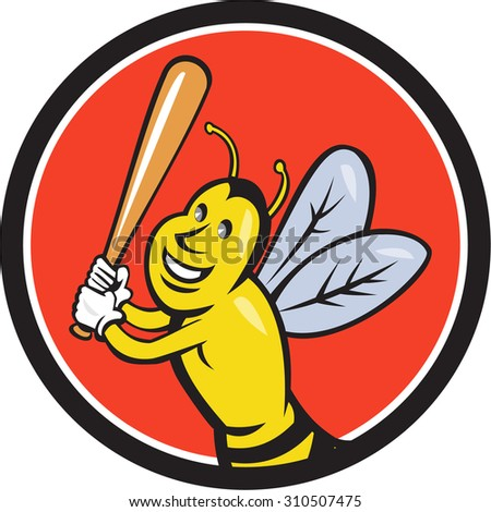 Cartoon style illustration of a killer bee baseball player smiling holding bat batting viewed from the front set inside circle on isolated background.  - stock photo