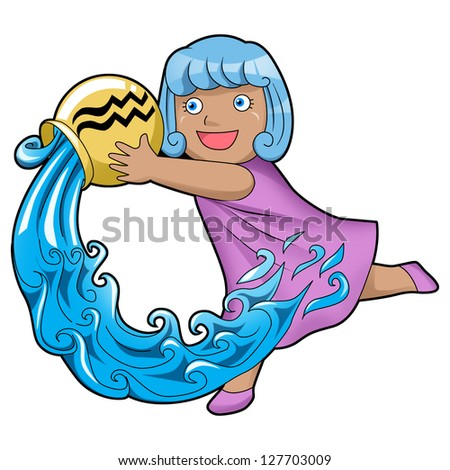 Cartoon style illustration of zodiac symbol, Aquarius - stock photo