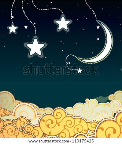 Cartoon style night sky - stock photo