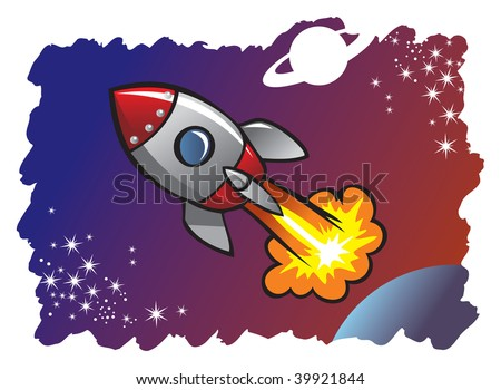 Cartoon style spaceship or rocket flying in the space among planets and stars, hi-res illustration - stock photo