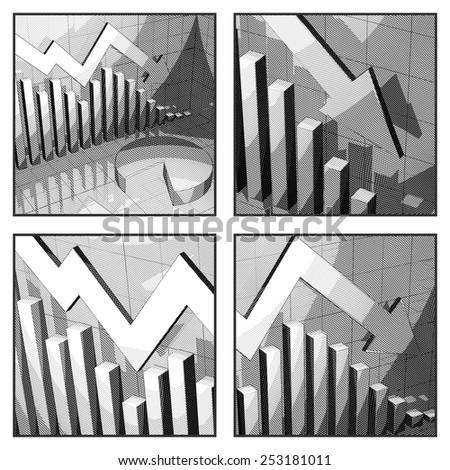 Cartoon Style Stock Market Doom Crisis Indicator - stock photo