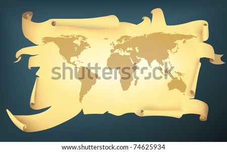 cartoon style torn map of the earth (jpg version) - stock photo