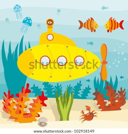 Cartoon submarine investigates the ocean (raster version) - stock photo