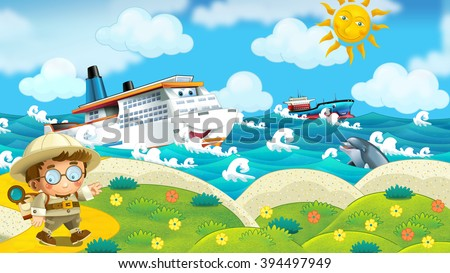 Cartoon summer nature scene with a traveler on the beach - illustration for the children - stock photo