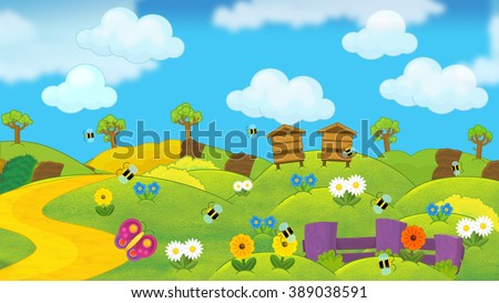 Cartoon summer nature scene with hives on the meadow - illustration for the children