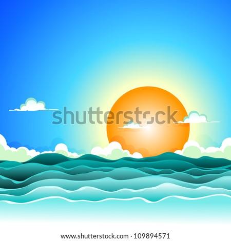 Cartoon Ocean Scene Cartoon Summer Ocean