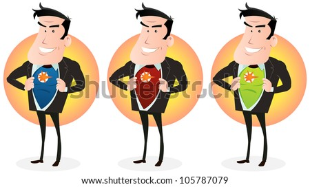 Cartoon Super Hero Double Identity Set/ Illustration of a set of cartoon businessman showing his superhero  disguise behind his clothes - stock photo