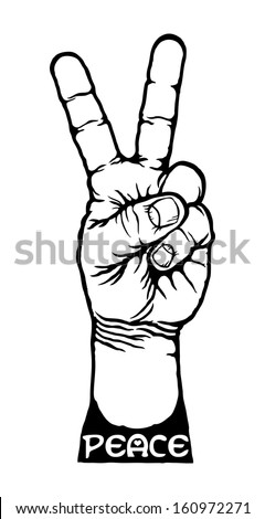 Cartoon symbol of a hand making the V sign for peace.