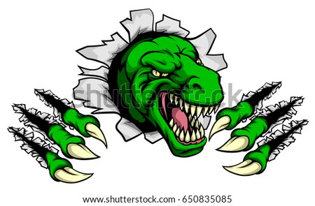 Cartoon T Rex tyrannosaurus dinosaur mascot ripping through the background with its claws