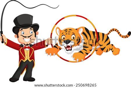 Cartoon tiger jumping through ring - stock photo