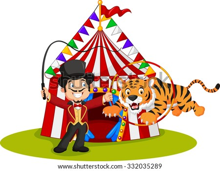 Cartoon tiger jumping through ring with circus tent background  sc 1 st  Shutterstock & Circus Tent Funny Clown Cartoon Character Stock Vector 742011703 ...