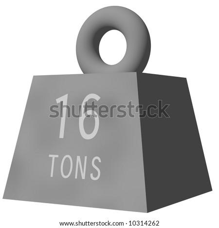Cartoon 16 ton weight isolated on white - stock photo