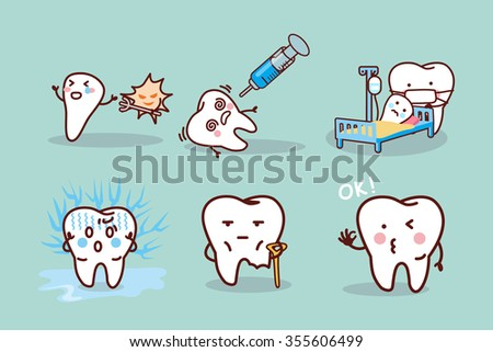 cartoon tooth cavity, great for health dental care concept - stock photo