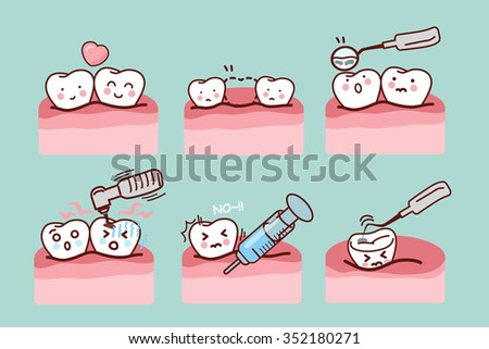 cartoon tooth with dental equipment, great for health dental care concept - stock photo