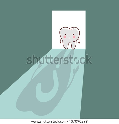 cartoon  tooth with question mark in the shadow room, great for dental care concept - stock photo