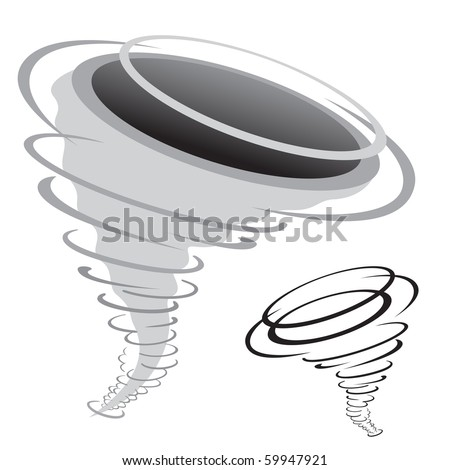 cartoon tornado isolated on the white background - stock photo