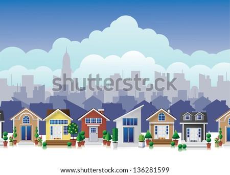 Cartoon town. jpg - stock photo