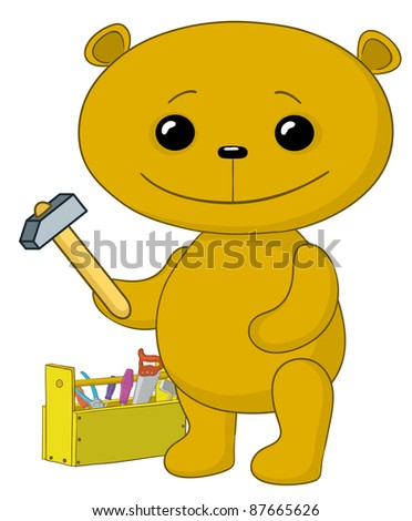cartoon, toy teddy bear worker with hammer and toolbox