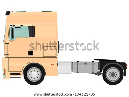 Cartoon tractor unit isolated on a white background. Raster - stock photo