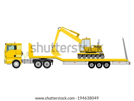 Cartoon tractor unit with a heavy trailer isolated on white background. Raster - stock photo
