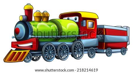 Cartoon train - illustration for the children - stock photo