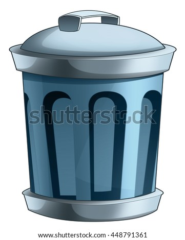 Cartoon trash container - isolated - illustration for children