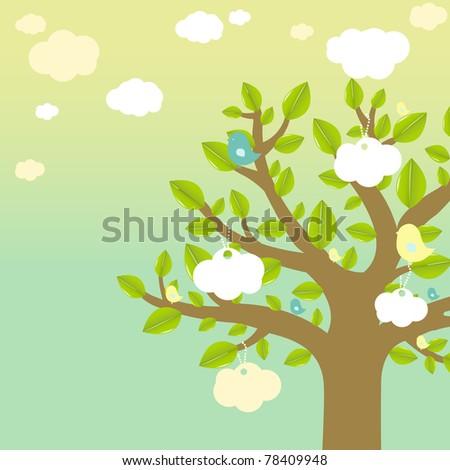 Cartoon Tree And Bird - stock photo