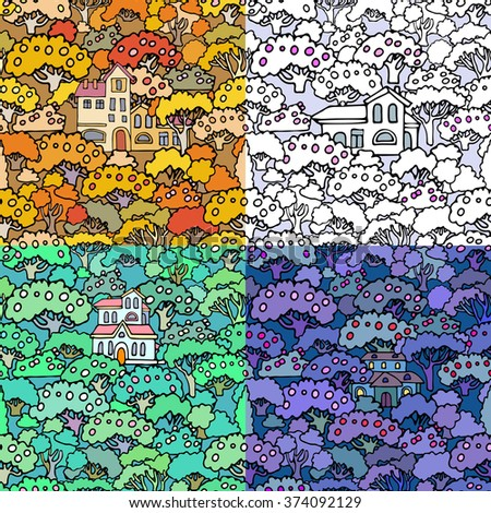 Cartoon trees and shrubs seamless pattern background with floral elements.Can be used for wallpaper,textile design,cover,wrapping paper,banner,card.Hand drawn sketchy trees,bushes and houses - stock photo