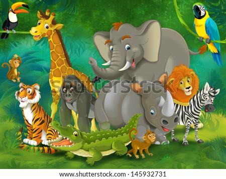 Cartoon tropic or safari - illustration for the children - stock photo