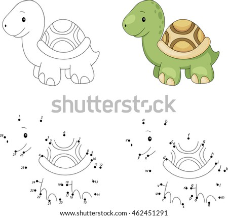 Cartoon Turtle Coloring Book Dot Dot Stock Illustration 462451291 ...