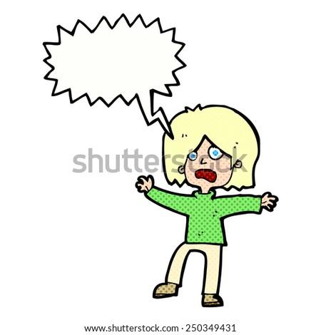 cartoon unhappy person with speech bubble - stock photo