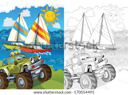 Cartoon vehicle - illustration for the children - stock photo