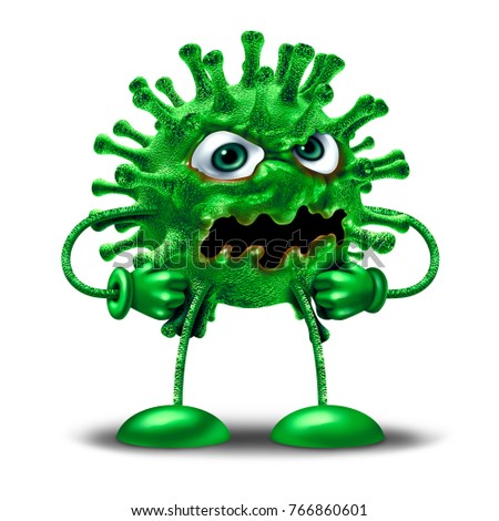 Cartoon Virus Character Green Disease Monster Stock Illustration