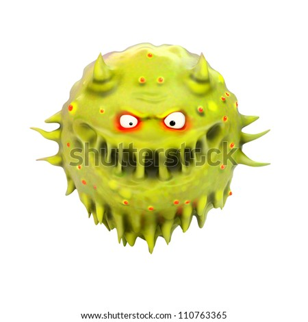 cartoon virus isolated on white - stock photo