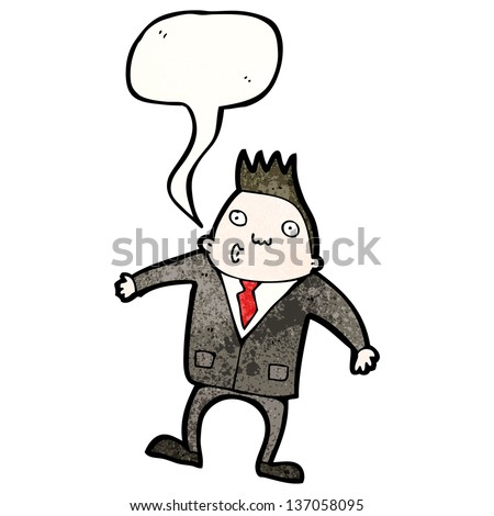 cartoon whistling man in suit
