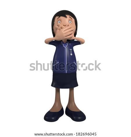 Cartoon White female nurse in uniform holding mouth close - speak no evil - stock photo