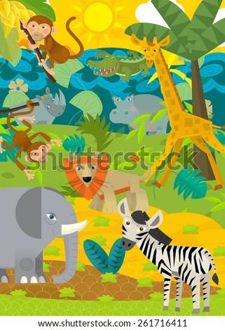 Cartoon wild animals - compilation of animals - illustration for the children - stock photo