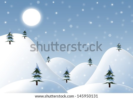 Cartoon winter landscape is suitable as a background for design of cards and collages. High resolution image