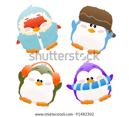 cartoon winter penguins - stock photo