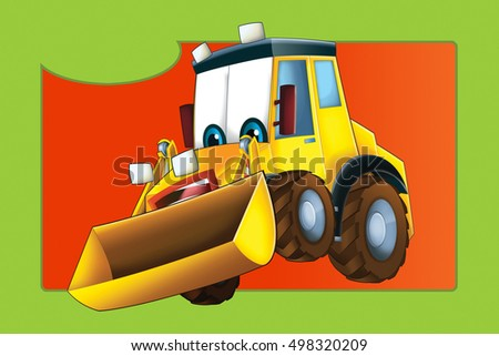 Cartoon with car - for different usage - happy excavator - illustration for children
