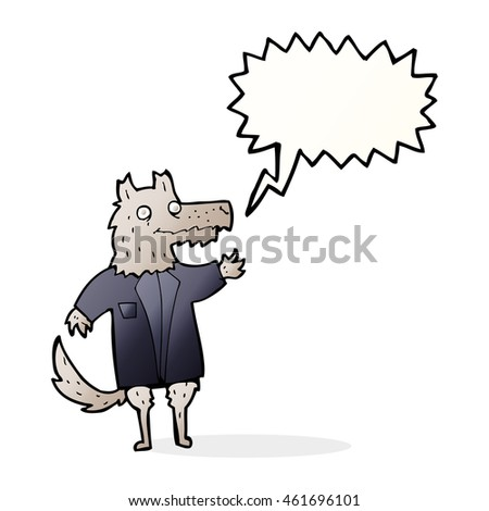 cartoon wolf businessman with speech bubble
