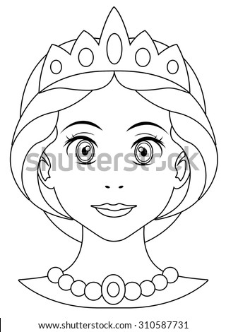 Cartoon woman - face - illustration for the children - stock photo