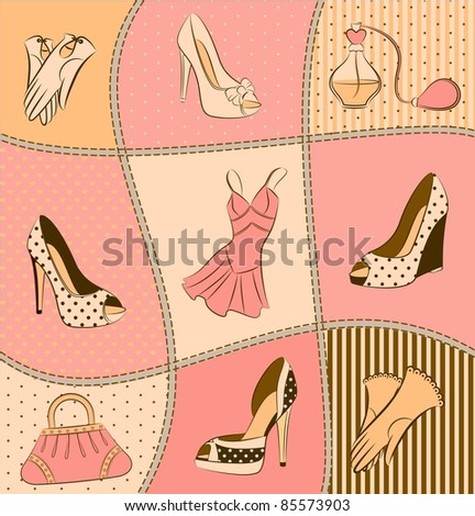 Cartoon woman's bag, perfume and shoes - stock photo