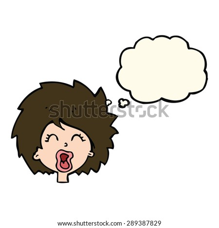 cartoon woman screaming with thought bubble - stock photo