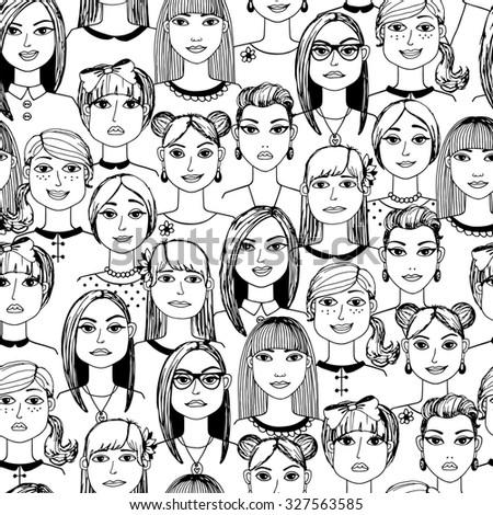 Cartoon women faces crowd doodle hand-drawn seamless pattern - stock photo