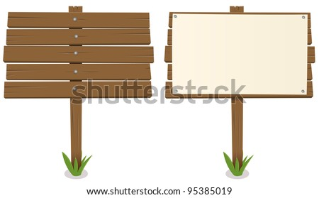 Cartoon Wood Board/ Illustration of a cartoon rustic wood billboard with and without sign - stock photo