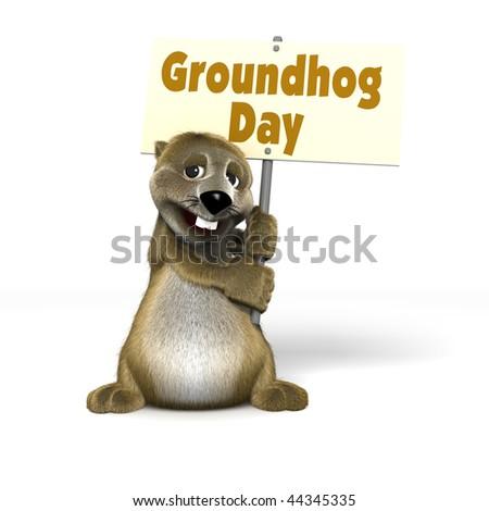 Cartoon Woodchuck holding Groundhog Day Sign - stock photo