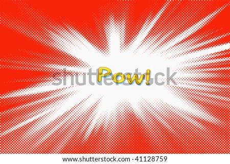 Cartoon word on red blast background - stock photo