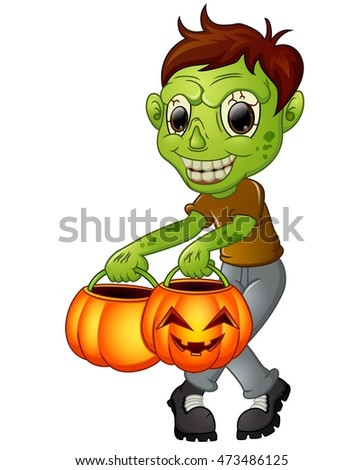 Cartoon zombie holding pumpkin