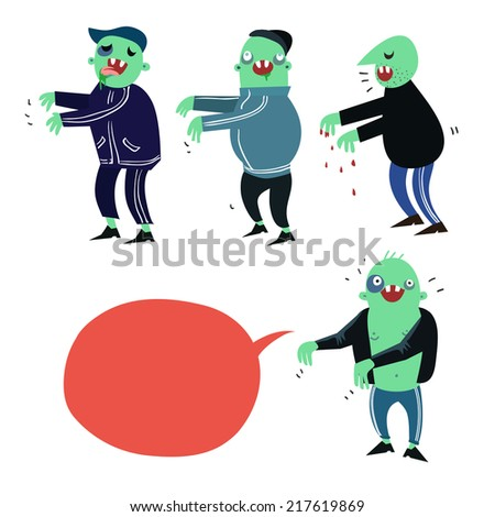 Cartoon zombies characters in flat style - stock photo